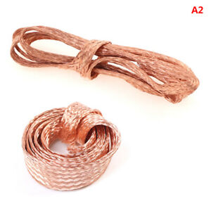 1m Flat Pure Copper Braid Cable Bare Copper Braid Wire Ground Lead FK