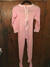 Vtg Lollipop Adult Small Footy Pajamas Pink Lace Trim Butt Flap Zipper Footed