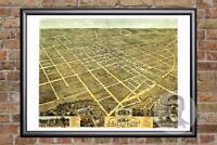 Vintage Lexington, KY Map 1871 - Historic Kentucky Art Old Victorian Industrial
