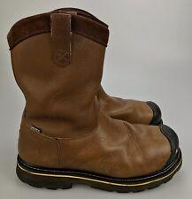 Mens 13 D - Keen Waterproof Dallas Wellington Steel Toe Workboots Brown Leather