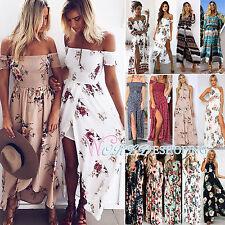 Women Summer Long Maxi Dress Ballgown Party Gown Beach Holiday Floral Sundress