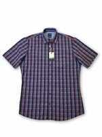 Olymp Casual modern fit short sleeve shirt in navy/red tartan M rrp £60.00