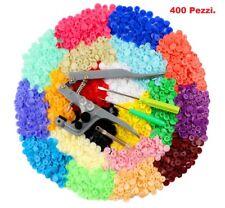 400 BOTTONI AUTOMATICI A PRESSIONE 20 COLORI PLASTICA + PINZA BOTTONI IN METALLO