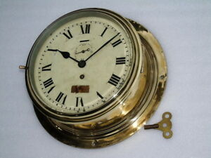 Rare Antique Huge 10.5 inch All Brass Smiths Empire Military Mechanical Clock