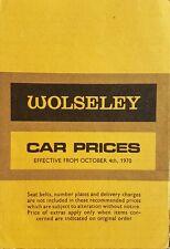 Wolseley Range Price List Brochure - October 1970