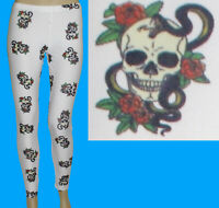 GOTHIC LEGGINGS SKULL ROSES & SERPENT PUNK ALTERNATIVE HALLOWEEN FANCY DRESS