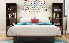 Brown 3-Piece Queen Bed Bookcase Nightstand Furniture Set Bedroom Home Living
