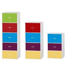 MULTI COLOURED BOOKCASE STORAGE UNIT CABINET STAND W/ DOORS HOME KIDS BEDROOM