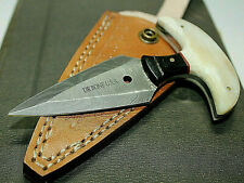 D.R BONE U.S.A Hand Made Damascus Knife hunting knives Deer Bone Handle