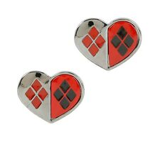 DC HARLEY QUINN HEART LOGO STUD EARRINGS Officially Licensed Suicide Squad NEW