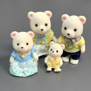 4x Sylvanian Families White Polaris Polar Bear Family Calico Critter Xmas Gifts