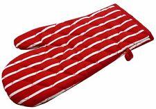 Victoria London Butcher Stripe Single Hand Oven Glove (100% Cotton) Red