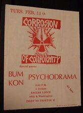 CORROSION OF CONFORMITY coc PSYCHODRAMA CO (1985) Vintage Punk Flyer suckdog