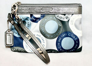 COACH Sateen Snaphead Pattern Wristlet Gray Blue Fabric Leather Trim