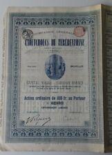 RARE ACTION COMPAGNIE GENERALE CAOUTCHOUCS DE TEREBENTHINE 100 FR BLEU