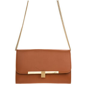 RRP€950 VICTORIA BECKHAM Leather Crossbody Bag Chain Strap Turnlock Flap Closure