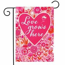 New listing Briarwood Lane Sleeved Garden Flag 12.5x18 Love Grows Here Valentines Day Heart