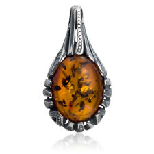 """Pendant Natural Baltic Amber Sterling Silver Янтарь 1.2"""" Orange Drop Oval Shaped"""