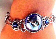 Ladies Fashion Alpaca Silver Bracelet with Blue Glass Stone (220)