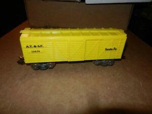 MARX #13975 Santa Fe Stock Car, Yellow,  3/16 Scale Trucks, 8 Wheel,  Original