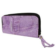Damen Handtasche Denim Effekt Violett Farbe Modisch Griff Tasche Clutch Muster Reißverschluss