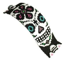 BR602 Skull Day of The Dead Bracelet Crystal Czech Glass Beads Magnetic Clasp 7""