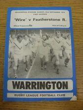 22/09/1974 programma Rugby League: Warrington V Featherstone Rovers (piegato). T