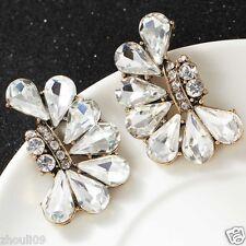 Ear Studs Clip hoop earrings e658 New Lady Woman Elegant crystal Rhinestone long