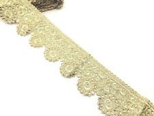 1 Yard Metallic Gold Diamante Tear Drop Stone Edging Lace Ribbon Border Trim 9.5