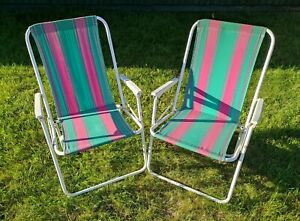 2 Vintage Retro 1960s/70s Fabric Fold-Up Garden Chairs Camping Vw Green Pink UK5