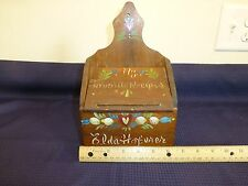 VINTAGE WOOD RECIPE BOX WALL MOUNT OR COUNTER GREAT PINTEREST PROJECT GUC WOODEN
