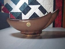 FRANKOMA POTTERY - BROWN SATIN CRESCENT CENTER BOWL - # 211 planter WITH STICKER