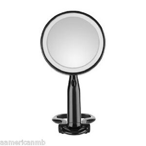 "Conair Reflect 3x/1x Magnifying 5.5"" Makeup Travel Mirror LED Lighted Black"