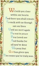 WE HOLD YOU CLOSE WITHIN OUR HEARTS KEEPSAKE VERSE CARD LOST LOVED ONE IN MEMORY