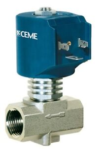"""Solenoid valve CEME 9014, Normally Closed, 1/2"""", water air steam light oils PTFE"""