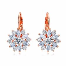 Luxury Earrings Cz Brilliant Flower Rose Gold Stone Women Birthday Gift Bag