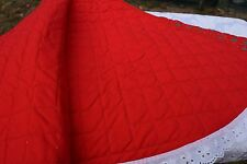 Christmas Tree Skirt Machine quilted Red with Green Trees