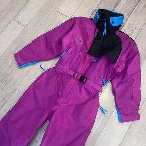 COLUMBIA One Piece Ski Suit Snow Bib retro Snowsuit Purple VTG 80s Womens Medium