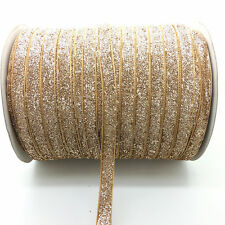 "New 5 Yards 3/8"" Glitter Velvet Ribbon Headband Clips Bow Wedding Decoration #38"