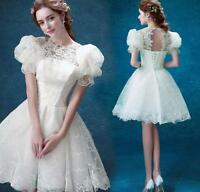 Womens White Lace Puff Short Sleeve Princess Cocktail Tutu Wedding Party Dress
