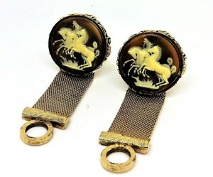 Vintage Beautiful Cameo Gold Tone cufflinks 4 Horses Brientlent Details