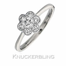 18 Carat Cluster White Gold Fine Rings