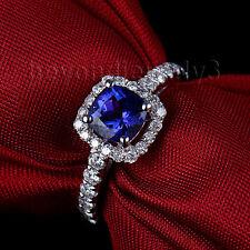18Kt White Gold Natural Diamond Cushion 6mm Tanzanite Engagement GEMSTONE Ring
