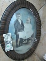 """Great, HUGE Oval Antique """"DOMED"""" Frame, Photo of 2 Children With Book, c. 1900"""