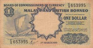 1 DOLLAR  FINE BANKNOTE FROM MALAYA AND BRITISH BORNEO 1959  PICK-8