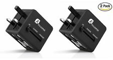 2-Pack Travel Adapter Universal International Power Charger Outlet Plug EU to US