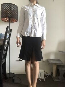 Muji Japan Women Fitted Cotton White Shirt Top Size S