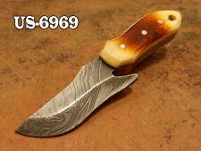 """4.0""""CUSTOM  DAMASCUS STEEL MINI SKINNER NECK KNIFE,BURNED CAMEL BONE US-6969"""