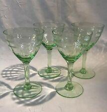 4 - CORDIAL GLASS Tiffin Depression Green Pillar Optic Elegant Gray Cut Floral
