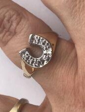 New 14k Yellow Gold Diamonds Horseshoe Men's Ring